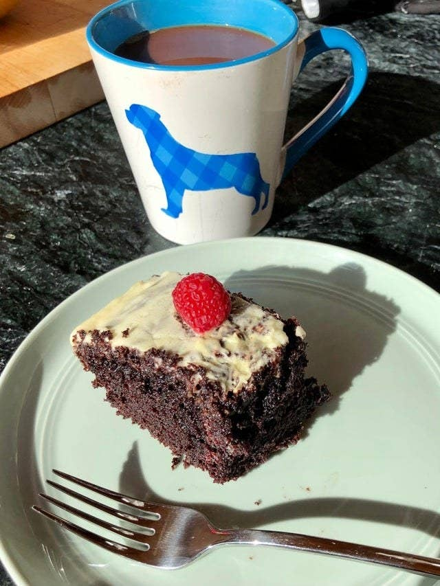 Devils food cake with a cup of coffee.