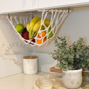 hanging fruit basket in a kitchen