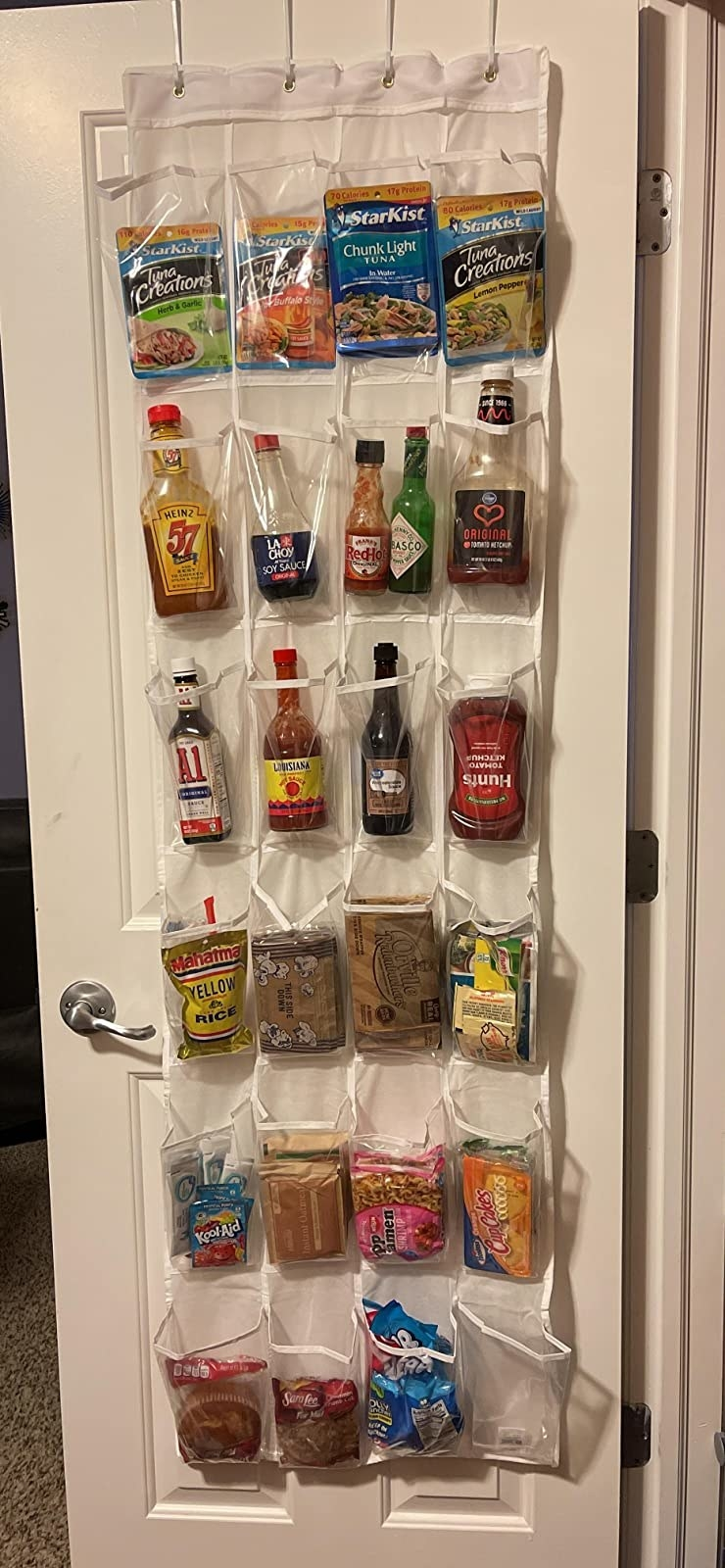reviewer photo showing the shoe organizer filled with snacks