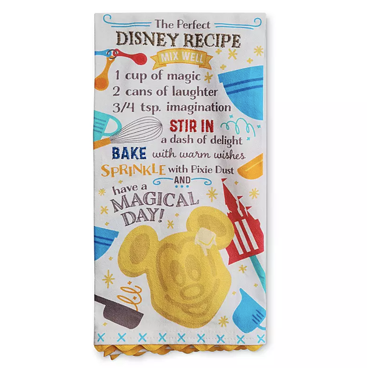 a dish towel that has a fake recipe for mickey waffles on it and different cooking icons