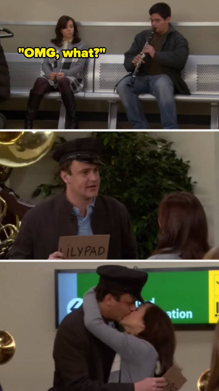 Marshall surprising Lily with a full marching band at the airport, then them kissing