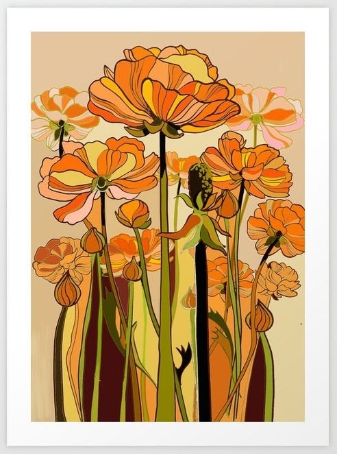 Flowers illustrated with lines and vibrant colours