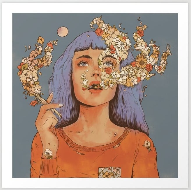 A person blowing flowers from her mouth like smoke