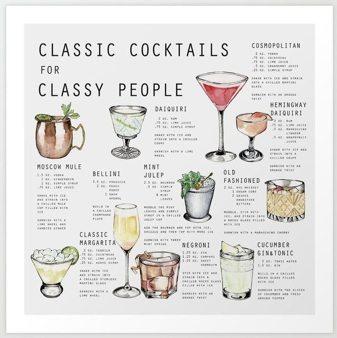 A print of 10 classic cocktails and their ingredients