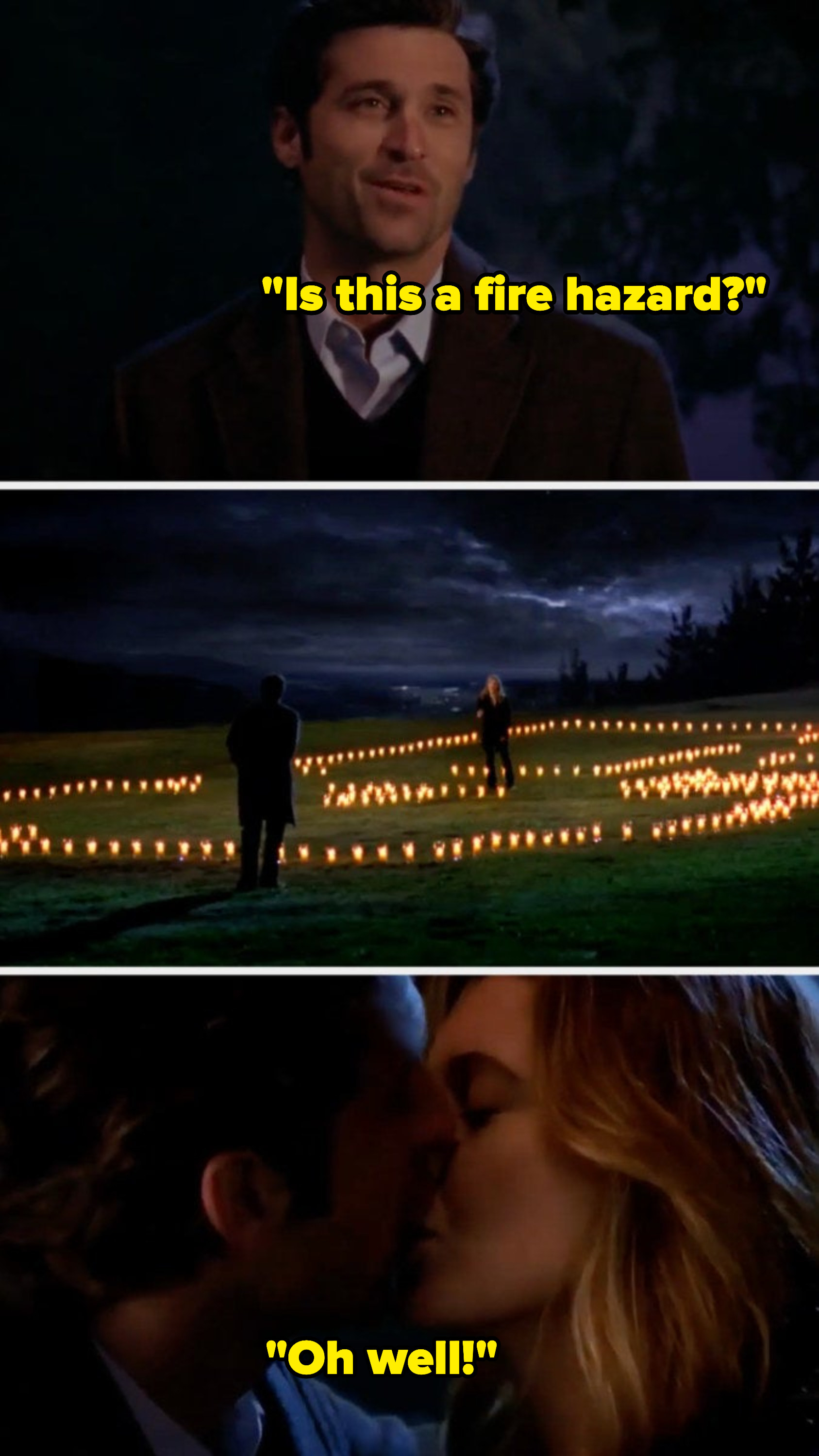 Meredith builds Derek a house of candles, then they kiss