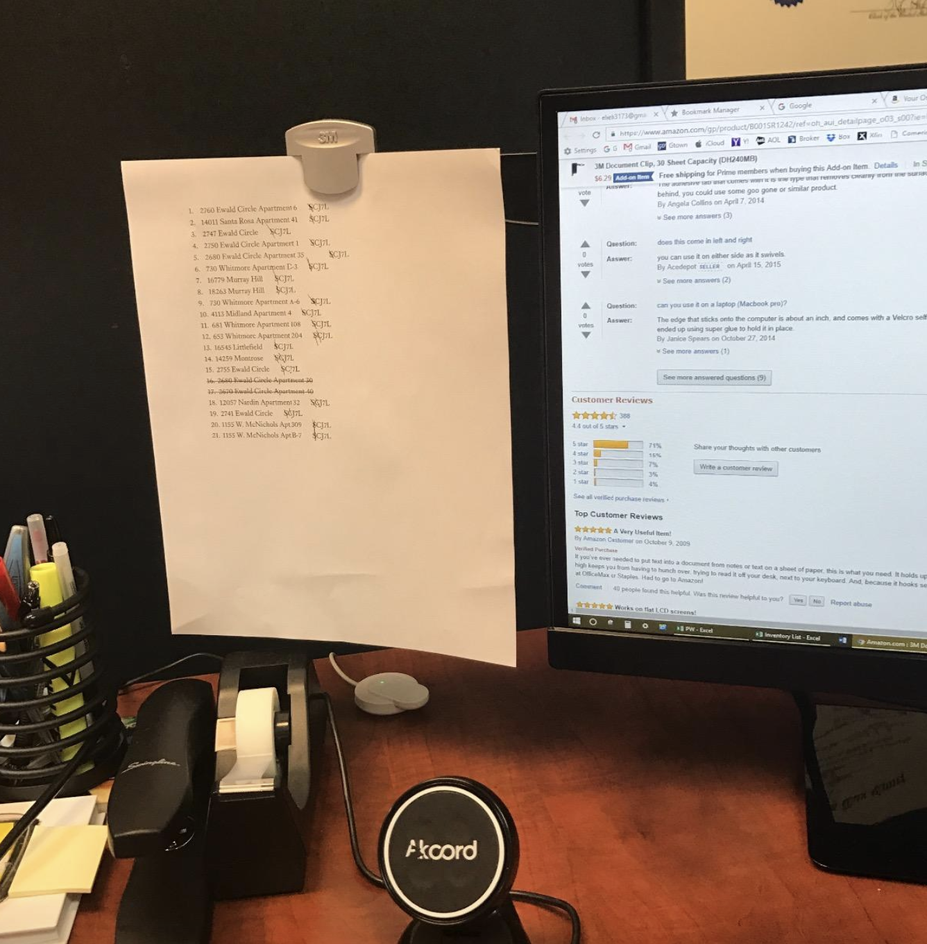 a reviewer photo using the document clip