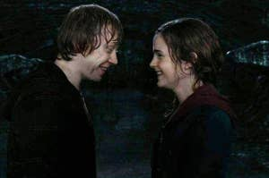 ron and hermione after they kissed in the last movie