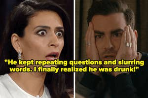 """""""""""He kept repeating questions and slurring words. I finally realized he was drunk!"""" over two gasping people"""
