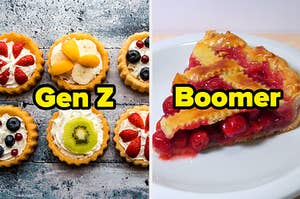"Fruit tarts labeled ""Gen Z"" and cherry pie labeled ""Boomer"""