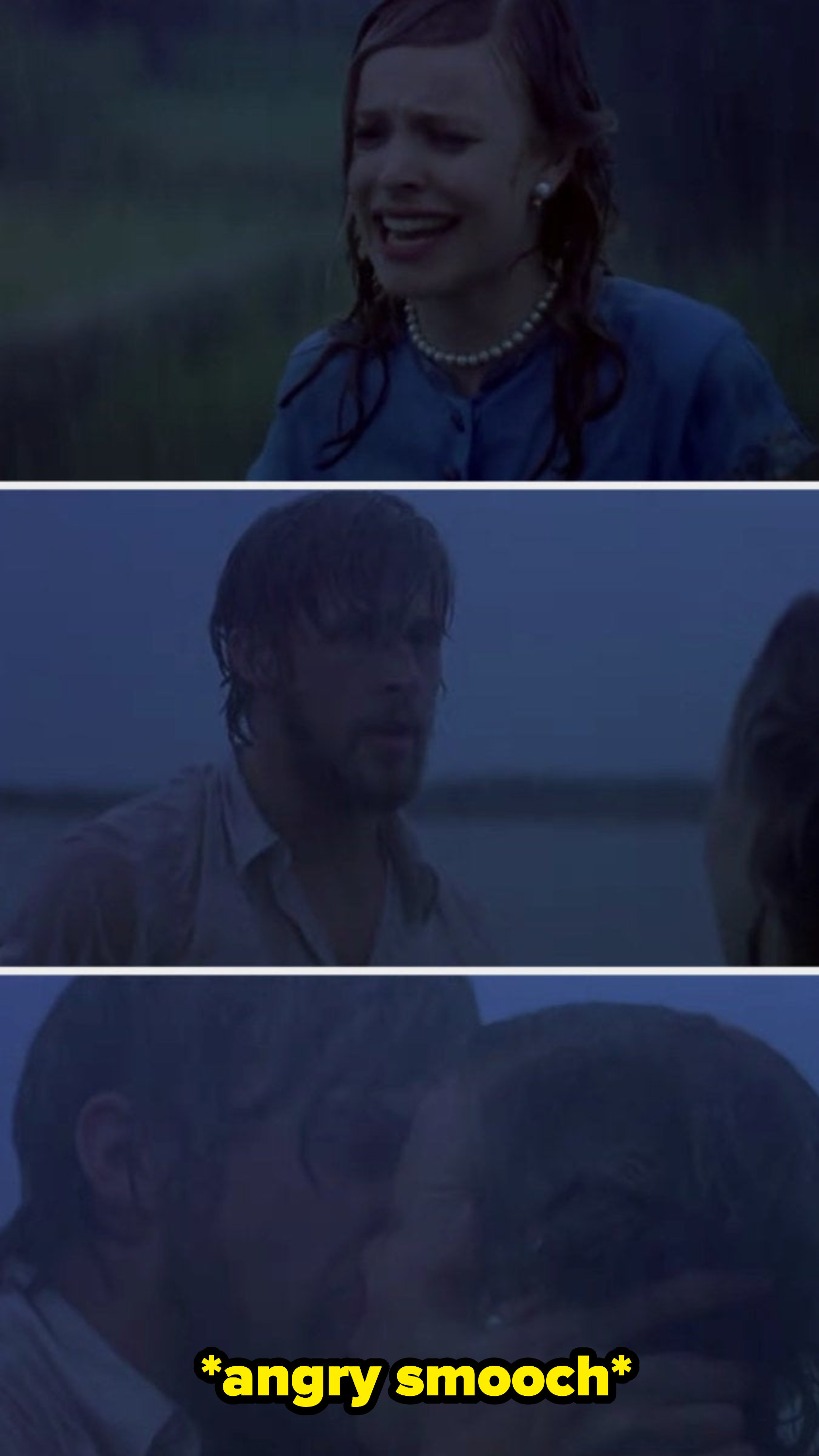 Noah and Allie crying and kissing in the rain