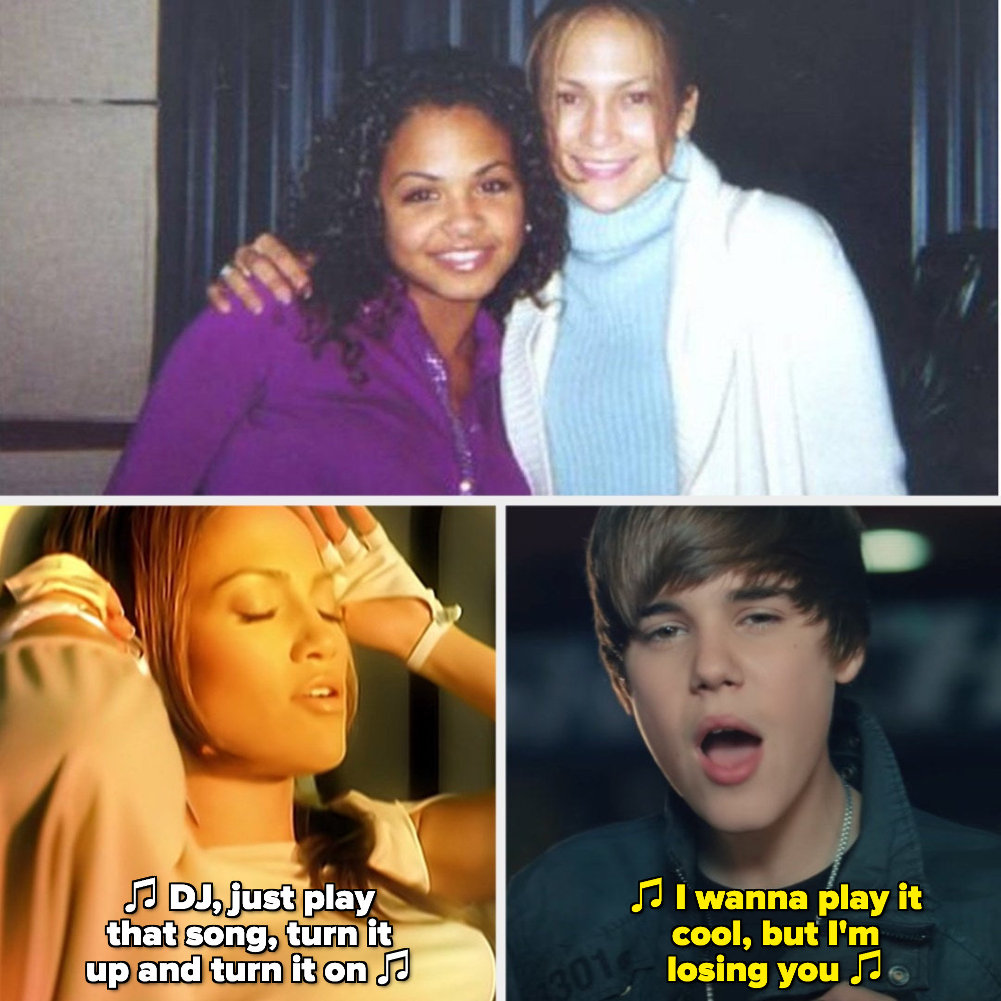 """Milian and Lopez posing together in a music studio in the early 2000s; Jennifer Lopez in the """"Play"""" music video; Justin Bieber in the """"Baby"""" music video"""