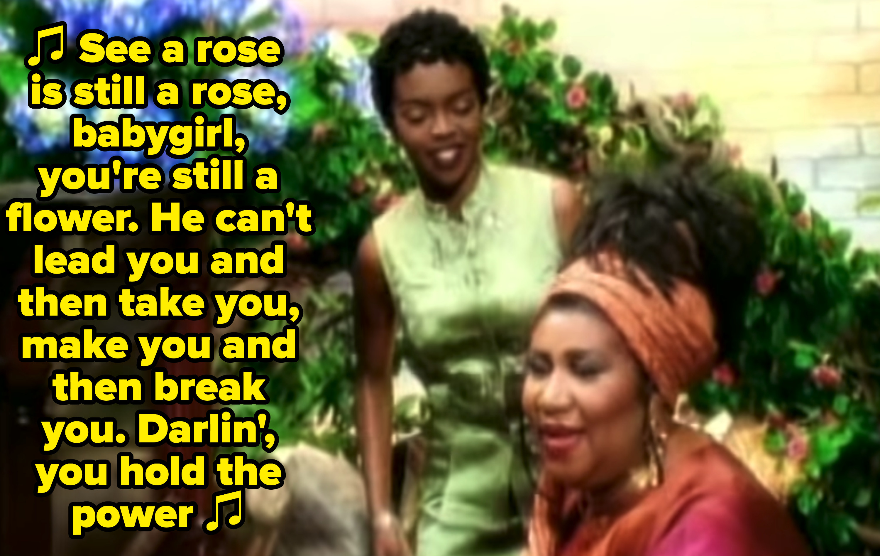 """Lauryn Hill and Aretha Franklin at the piano together in the """"A Rose Is Still a Rose"""" music video"""