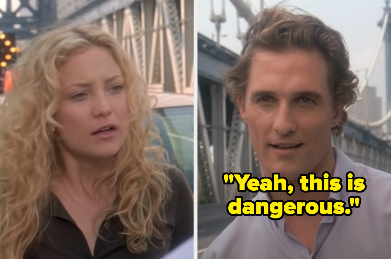 Ben stopping Andie on the bridge