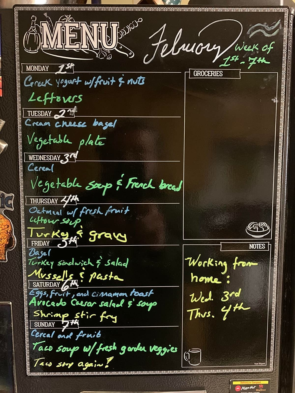 reviewer image of a magnetic Menu Board on a fridge with meals listed under each day of the week