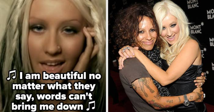 """Christina Aguilera singing in the """"Beautiful"""" music video; Linda Perry and Christina Aguilera hugging each other on a red carpet"""