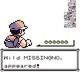 "A still from the classic Pokémon game that says ""Wild Missingno. appeared"""