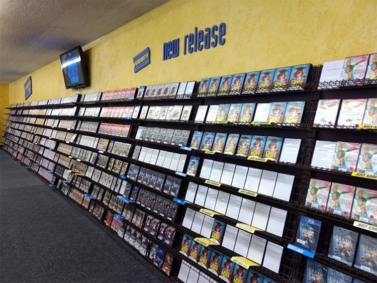Rows and rows of movies to rent at blockbuster