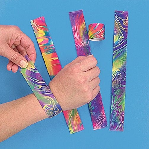 Slap bracelets being modeled