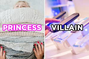 """On the left, someone holding a stack of knitted blankets labeled """"princess,"""" and on the right, someone touching a smart phone in a store labeled """"villain"""""""