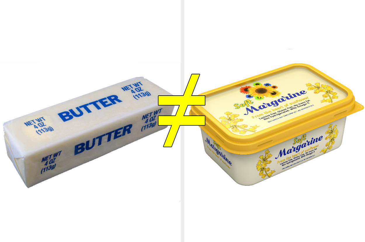 A graphic that shows butter is not equal to margarine