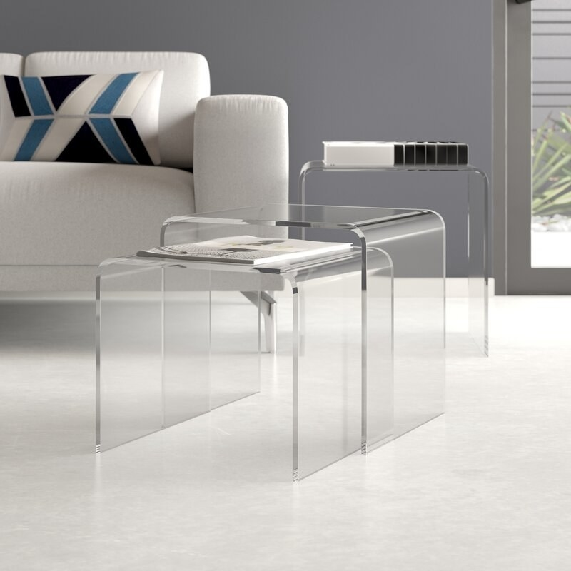 the set of three clear nesting tables