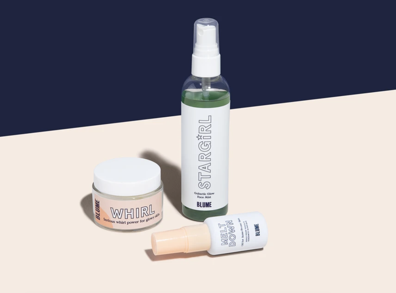 The set with Whirl Moisturizer, Meltdown Acne Oil, and Stargirl Face Mist
