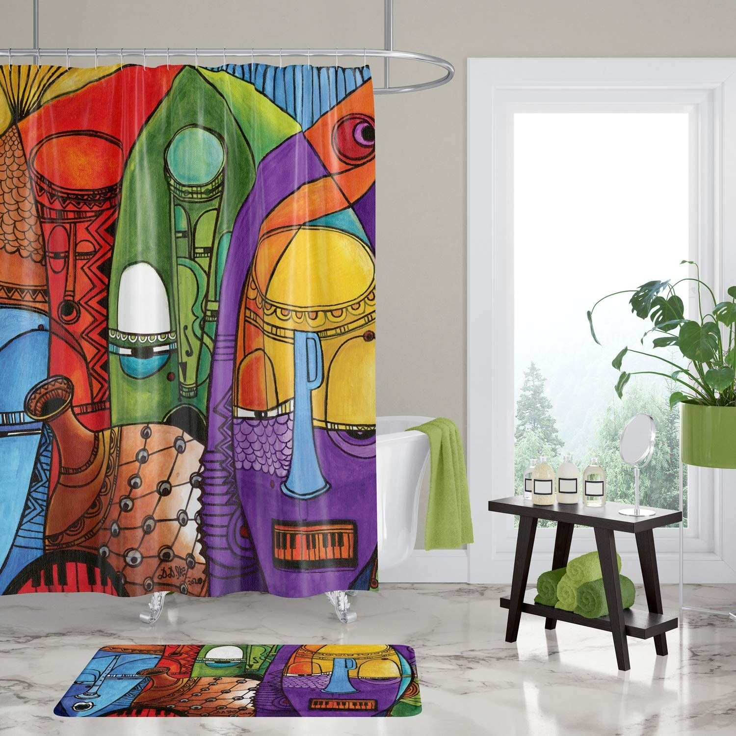 the colorful jazz-inspired shower curtain