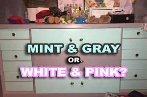 A dressed being either mint and gray or white and pink,  but not both