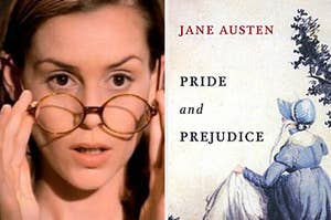 miss honey from matilda and the book cover of pride and prejudice