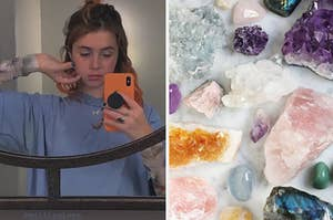 Clairo next to an array of crystals