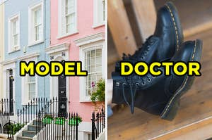 """On the left, rows of apartments on a street labeled """"model,"""" and on the right, someone wearing Doc Martens labeled """"doctor"""""""