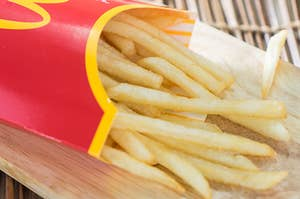 A carton of fresh McDonald's french fries