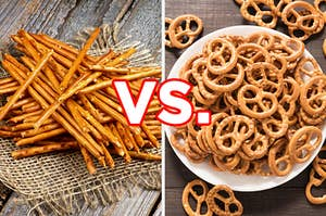 "On the left, some pretzel sticks, and on the right, a bowl of pretzel twists with ""vs."" typed in between the two images"