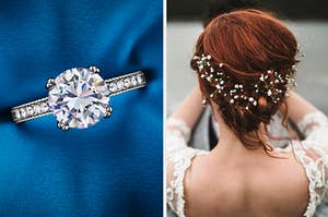 An engagement ring on the left and a bride with baby's breath in her hair on the right