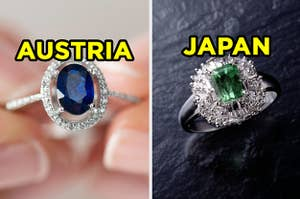 On the left, an oval sapphire ring labeled