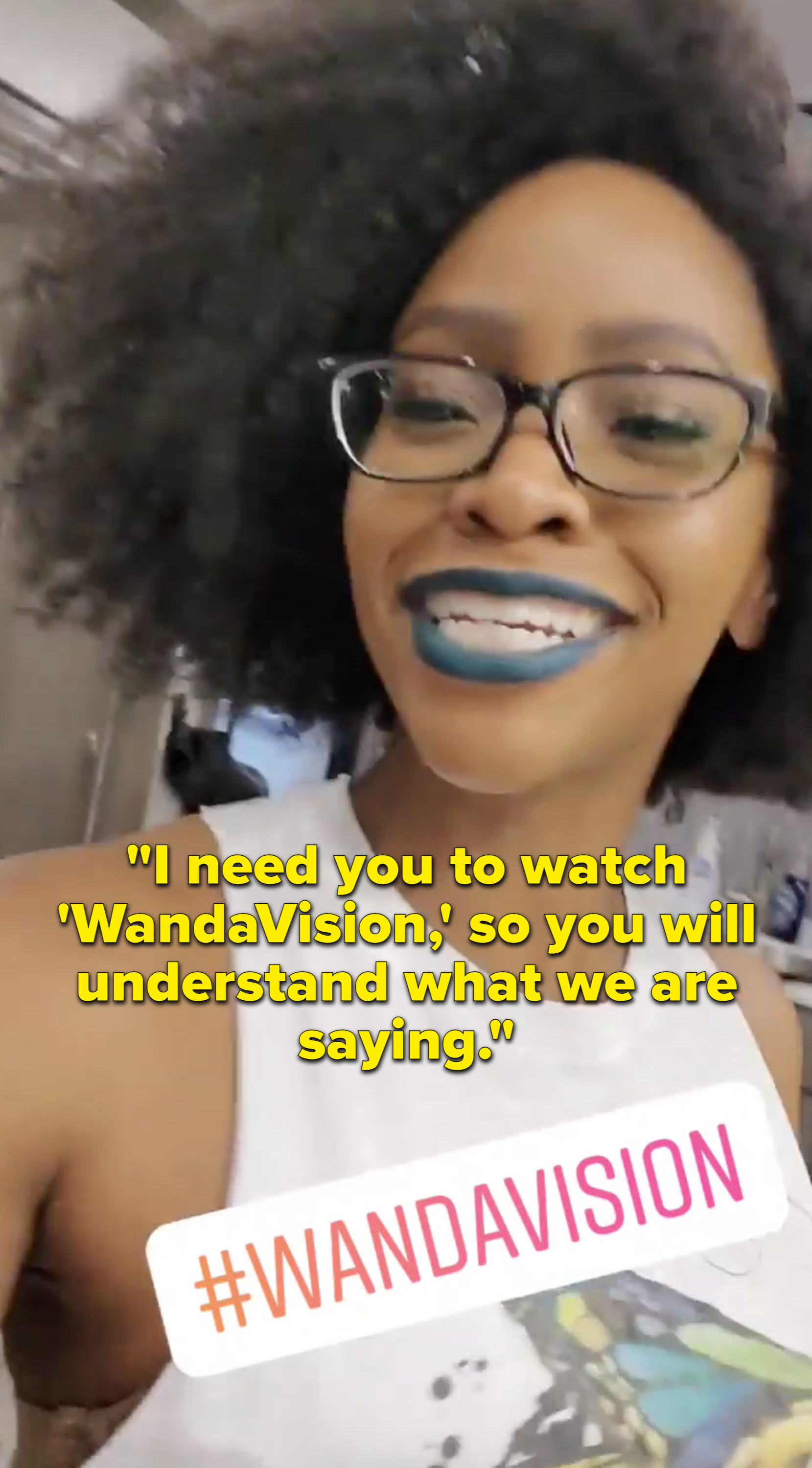 """Teyonah Parris saying, """"I need you to watch 'WandaVision,' so you will understand what we are saying"""""""