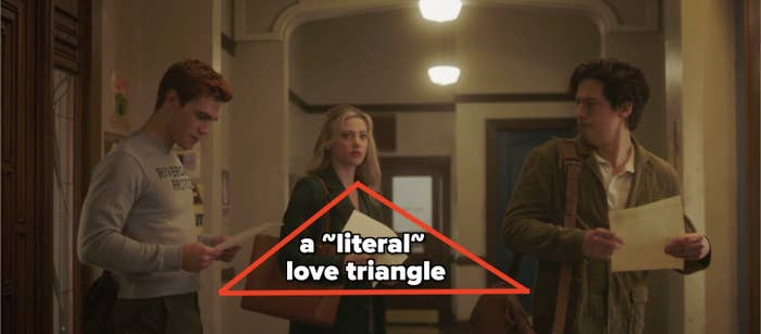 Archie, Betty, and Jughead standing in a literal love triangle