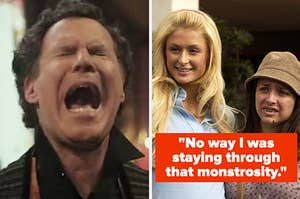 """Will Ferrell in """"Holmes & Watson"""" screaming next to Paris Hilton and Christine Lakin in """"The Hottie & the Nottie"""" with the caption: """"No way I was staying through that monstrosity"""""""