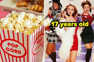 """A bucket of popcorn and a poster for the classic teen flick """"Clueless."""""""