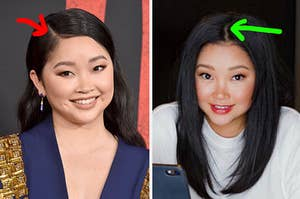Lana Condor with a side part and then a middle part