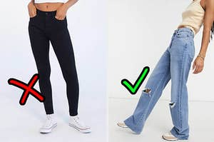 Skinny jeans not being a trend next to some straight jeans being very trendy