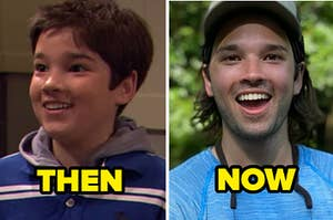 "Nathan Kress in iCarly in 2007 with caption ""then"" and Nathan Kress in 2020"