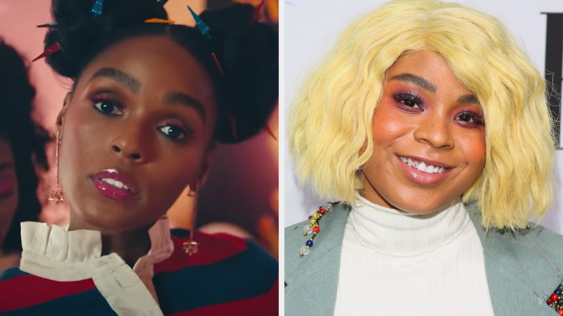 """Janelle Monáe in the """"Pynk"""" music video; Tayla Parx at the BMI Pop Awards in 2019"""
