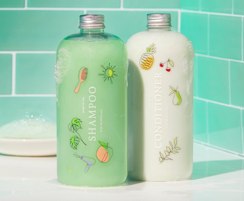 a bottle of shampoo and conditioner from function of beauty