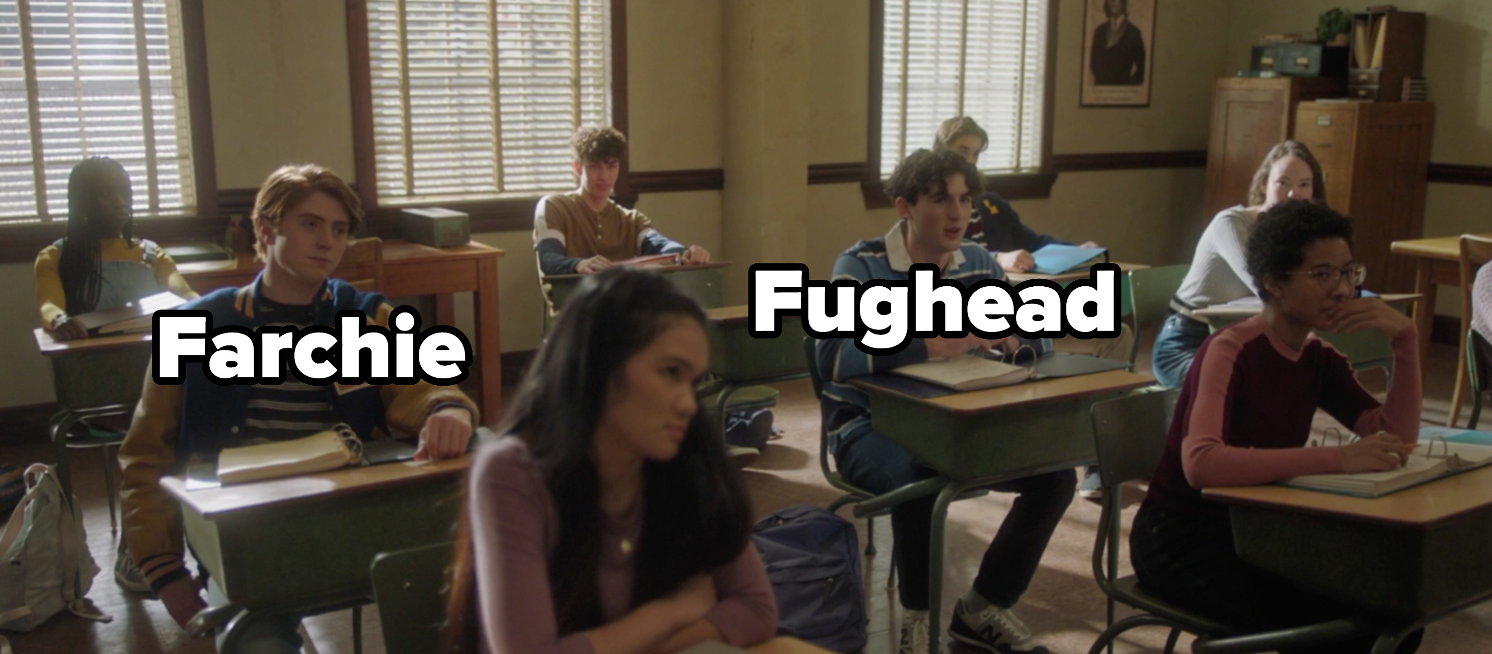Farchie and Fughead sitting at their desks in class