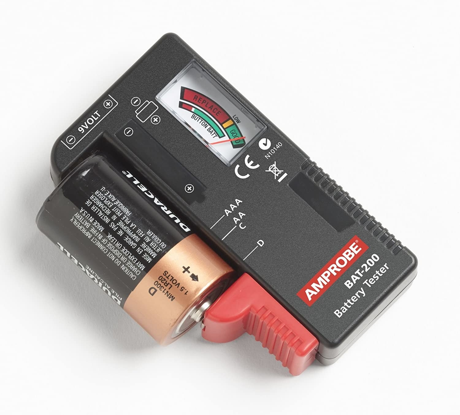 A small rectangular device with a D battery hooked up on the side