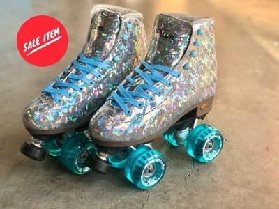 holographic skates with blue wheels