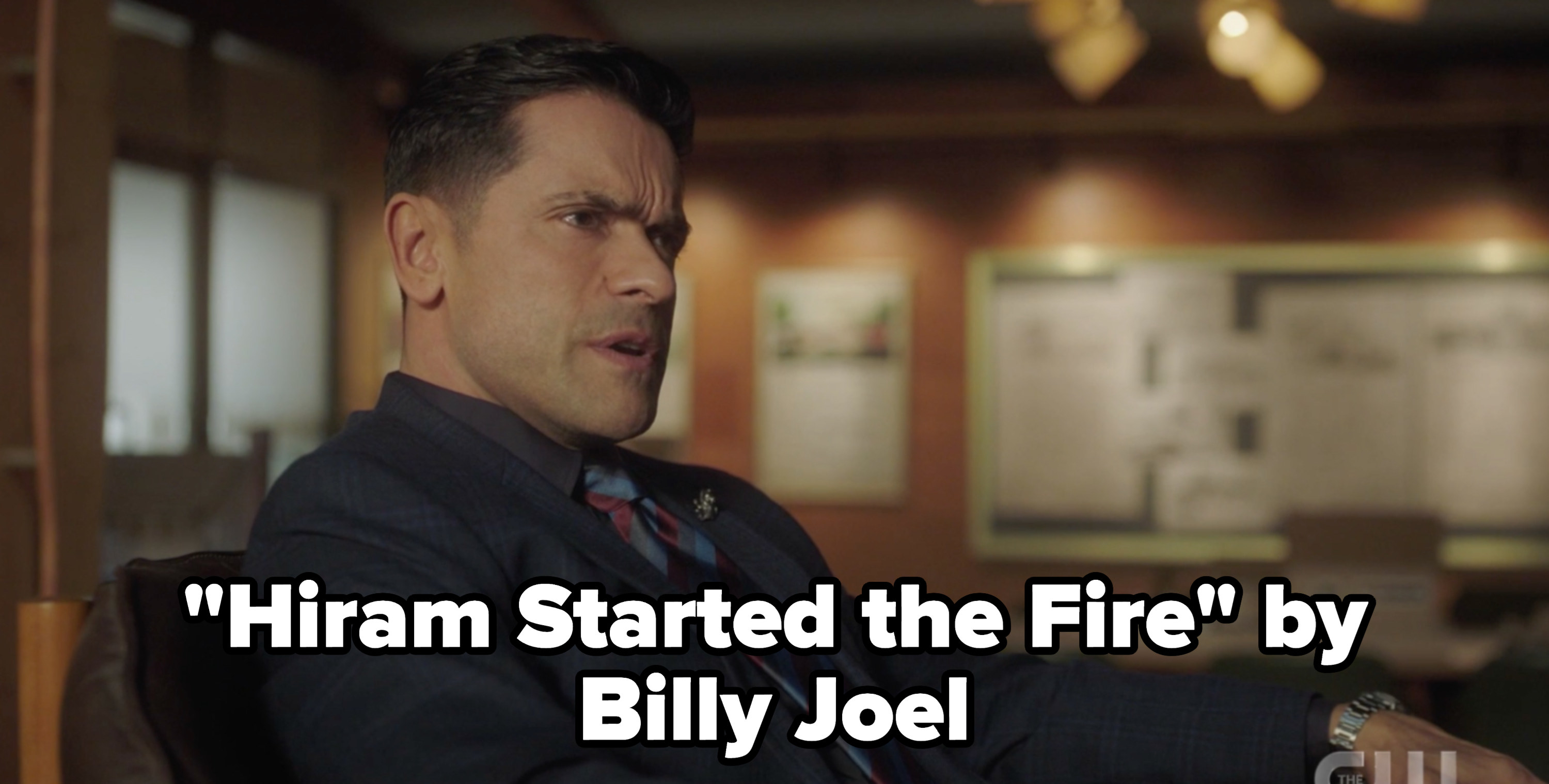 """Hiram with the caption """"hiram started the fire"""" by billy joel"""