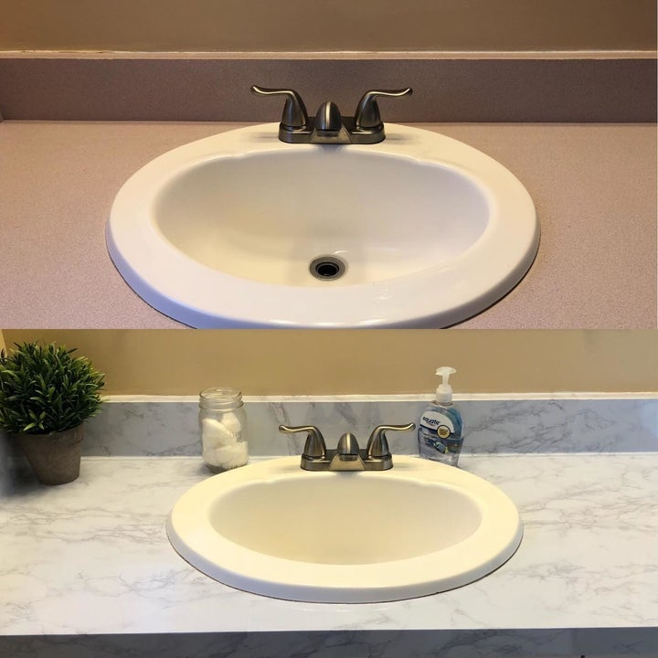reviewer's before-and-after shots using the marble contact paper on a bathroom sink