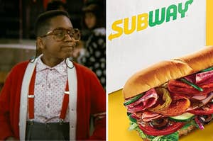 Steve Urkel is on the left smirking with a Subway sandwich on the right